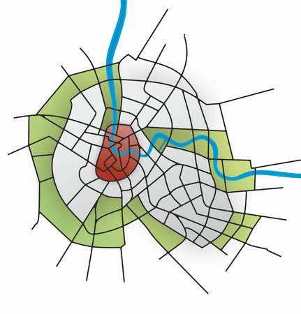simplified: illustration of fictive and simplified city map