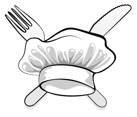 abstract toque with cutlery as sign or metaphor Vector