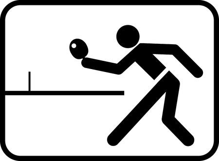 tischtennis: Piktogramm f�r Tischtennis-Match mit abstrakte Figur Lizenzfreie Bilder
