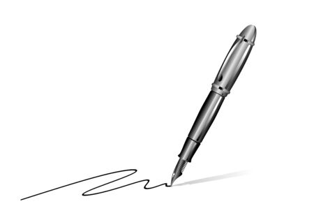 abstract illustration of noble fountain pen writing something