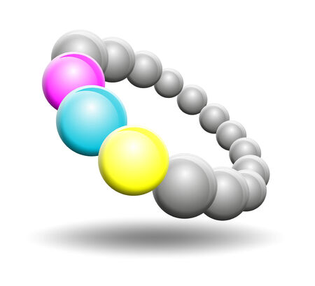 differently: abstract ring made of differently colored balls Stock Photo