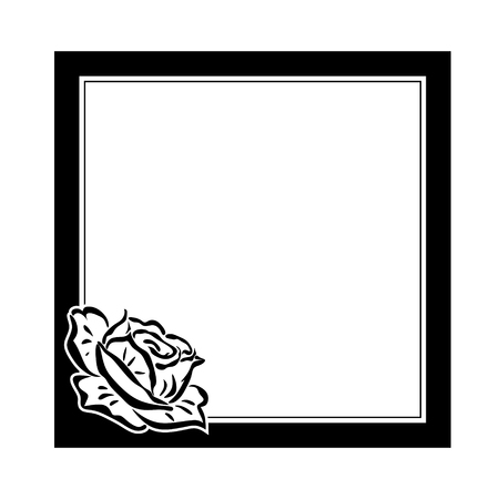 template for obituary with abstract monochrome rose photo