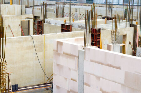 civil engineering: construction site with civil engineering work and first walls Stock Photo