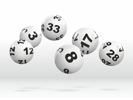 lottery win: abstract illustration of dynamically rolling lottery balls Stock Photo