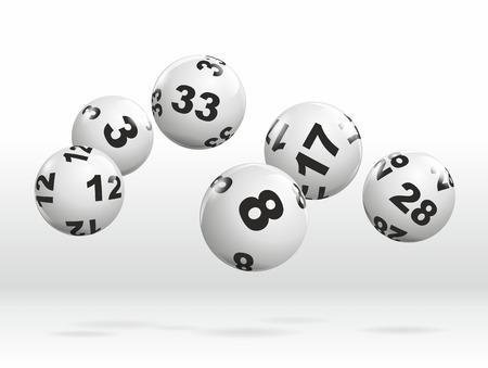 lottery: abstracte illustratie van dynamisch rollende loterijballen Stockfoto