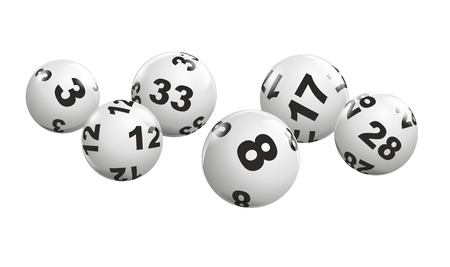 dynamically: abstract illustration of dynamically rolling lottery balls Stock Photo