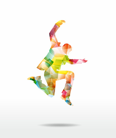 abstract figure jumping as a colorful collage photo