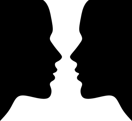 optical illusion with silhouettes of two heads 向量圖像