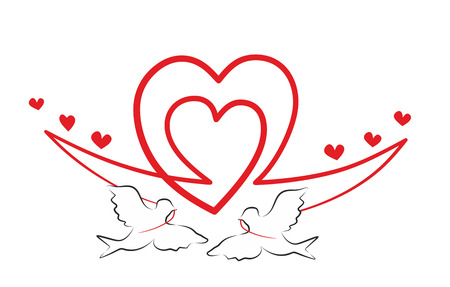 decorative element with heart and flying birds photo