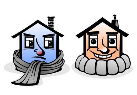 szigetelés: absztrakt ház és megfelelő szigetelés hiányában Illusztráció
