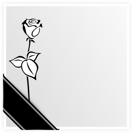 deceased: monochrome illustration of a rose with ribbon