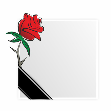 obituary: obituary template with rose and black ribbon
