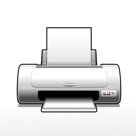 inkjet: symbolic monochrome illustration of an ink-jet printer Illustration