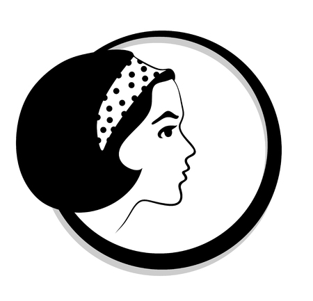 hairband: side view of female head with braid Illustration