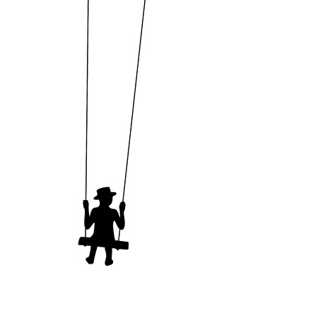 ponder: silhouette of a boy with hat sitting on a swing