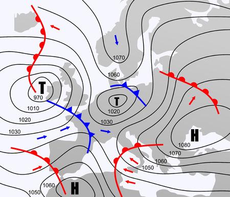 等圧線とヨーロッパの架空の天気図  イラスト・ベクター素材