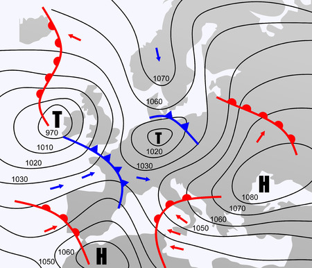 등압선 유럽의 상상의 날씨 차트