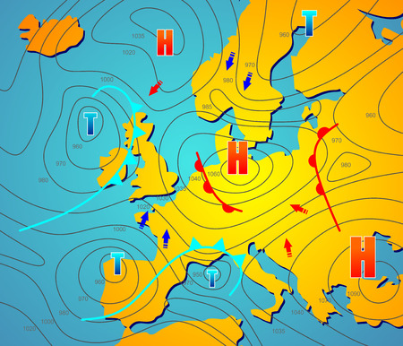 imaginary weather chart of Europe with isobars Vector