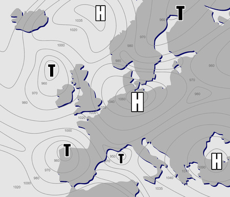 imaginary line: imaginary weather chart of Europe with isobars
