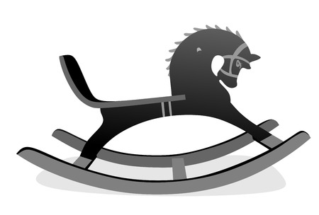 on the skids: abstract illustration of old rocking horse on skids Stock Photo