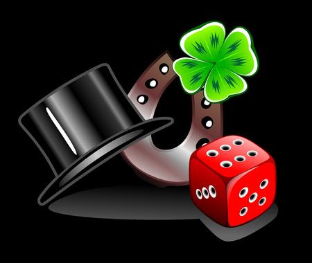 cloverleaf: lucky charms cylinder, dice, cloverleaf and horseshoe