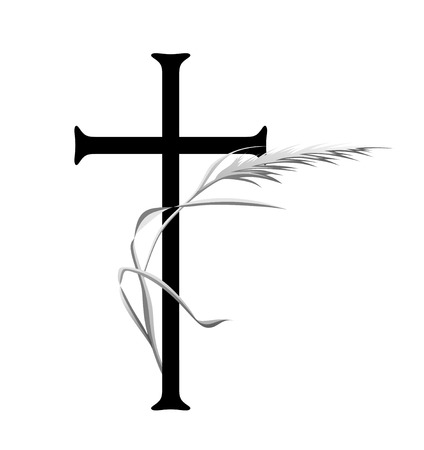 condolence: grave decoration with cross and ear in the wind