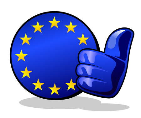 abstract european union sign with thumbs up Stock fotó - 29494148