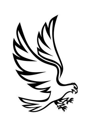 monochrome illustration of a majestic eagle attacking