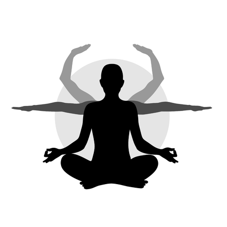 mind body soul: silhouette of a figure in lotus position