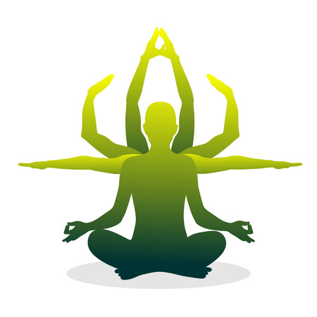 silhouette of a figure in lotus position Stock Vector - 29655484