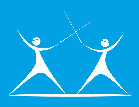 fencers: stylized illustration of two dynamically fighting fencers Stock Photo