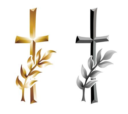 grave cross with ear as condolence template Standard-Bild