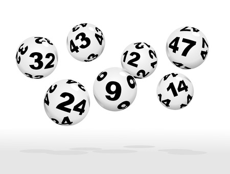 bingo: floating lottery balls as metaphor for lottery Illustration