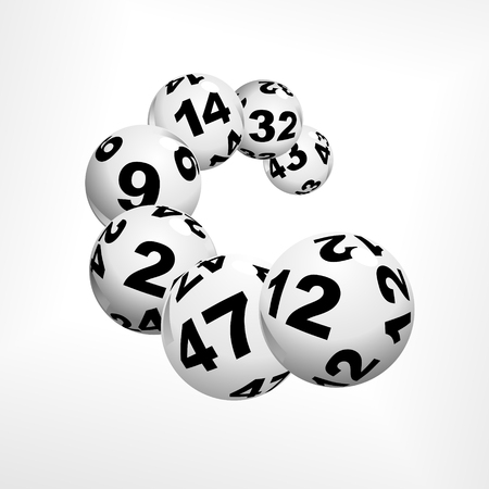 floating lottery balls as metaphor for lottery Vettoriali