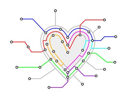 ハートの形をしたオリジナルの地下鉄マップ