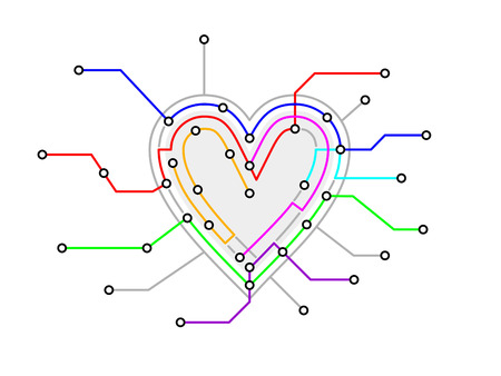 fictional: original metro map in the shape of a heart