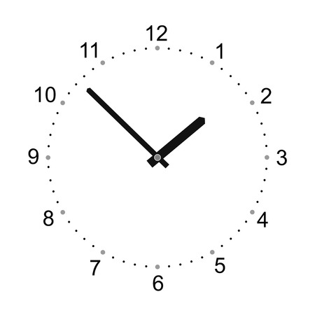 simplified watch with big numerals and watch hands Vector