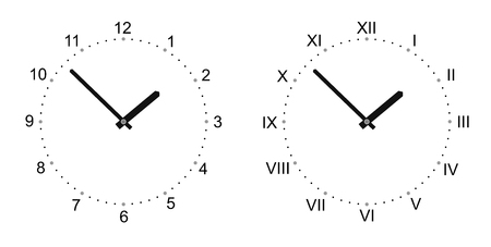 analogous: simplified watch with big numerals and watch hands Illustration