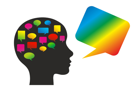symbolic speech bubbles in the head of a figure photo