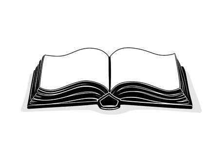 contour of an open book as metaphor Vector