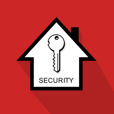 house symbol with key as metaphor for home security Illustration