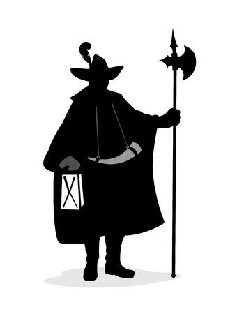 alabarda: storico orologio di notte con la lanterna, corno e alabarda