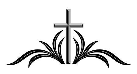 クロスが付いている抽象的な葬儀装飾と支店  イラスト・ベクター素材