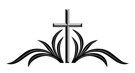 Decorazione astratta funerale con croce e ramo Archivio Fotografico - 29830187