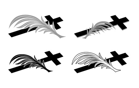 condolence: funeral decoration with a cross and twig Illustration