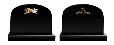 condolence: two black tombstones with different golden decoration