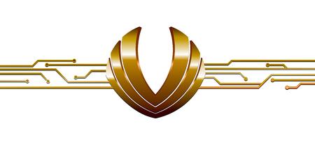 gouden embleem verbonden met abstracte elektronische schakeling Stock Illustratie