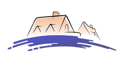 simplified symbol with silhouette of a house behind a hill