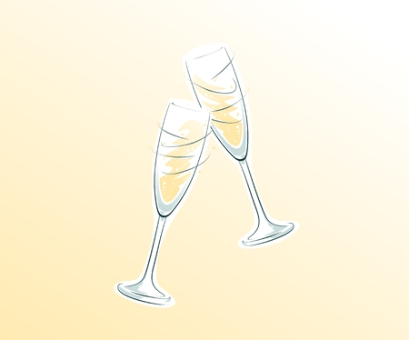 champagne glasses: two clinking champagne glasses on bright background Illustration
