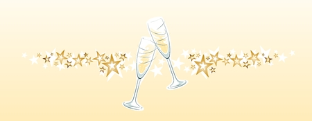clinking: two champagne glasses with stars on bright background